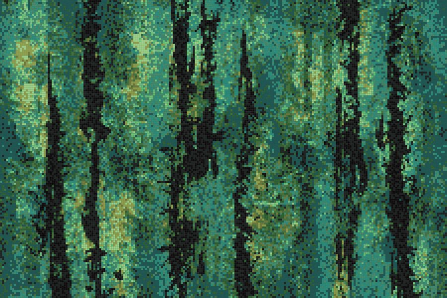 Green depths Contemporary Abstract Mosaic by Artaic