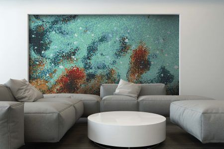 Turquoise water Contemporary Abstract Mosaic installation by Artaic