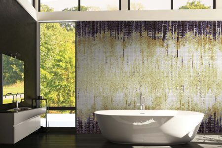 Purple Waterfall Contemporary Abstract Mosaic installation by Artaic