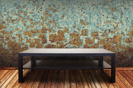 Brown Waves Contemporary Abstract Mosaic installation by Artaic
