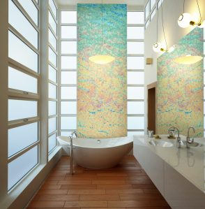 Multi Waves Contemporary Abstract Mosaic installation by Artaic