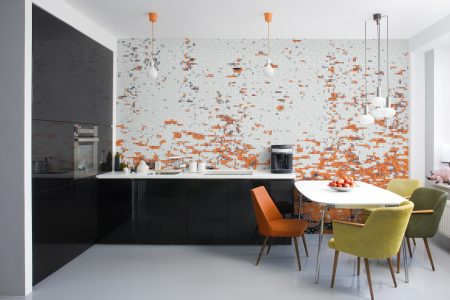Orange effervescence Contemporary Abstract Mosaic installation by Artaic