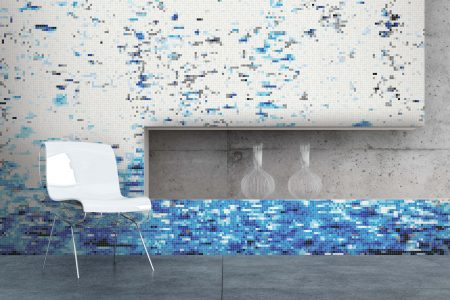 Turquoise effervescence Contemporary Abstract Mosaic installation by Artaic