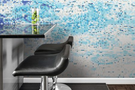 Blue coast Contemporary Abstract Mosaic installation by Artaic