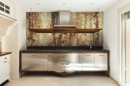 Brown depths Contemporary Abstract Mosaic installation by Artaic