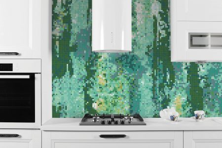 Green depths Contemporary Abstract Mosaic installation by Artaic