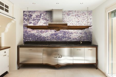 Purple coast Contemporary Abstract Mosaic installation by Artaic