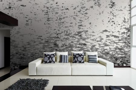 Black effervescence Contemporary Abstract Mosaic installation by Artaic