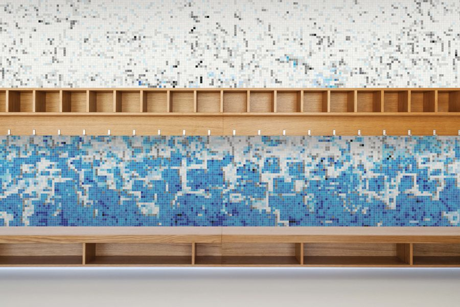 Blue Waves Contemporary Abstract Mosaic Installation By Artaic