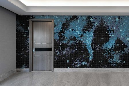 Blue water Contemporary Abstract Mosaic installation by Artaic