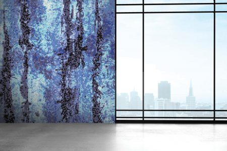Blue depths Contemporary Abstract Mosaic installation by Artaic