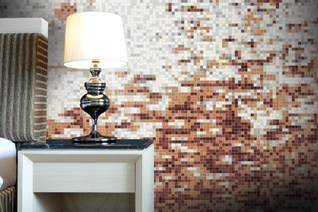 Brown effervescence Contemporary Abstract Mosaic installation by Artaic