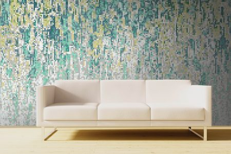 Green downpour Contemporary Abstract Mosaic installation by Artaic