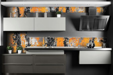 Orange depths Contemporary Abstract Mosaic installation by Artaic