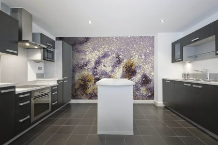 Purple water Contemporary Abstract Mosaic installation by Artaic