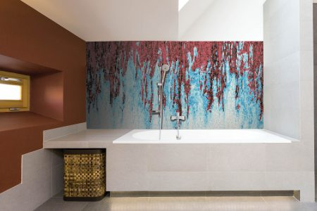 Red waterfall Contemporary Abstract Mosaic installation by Artaic