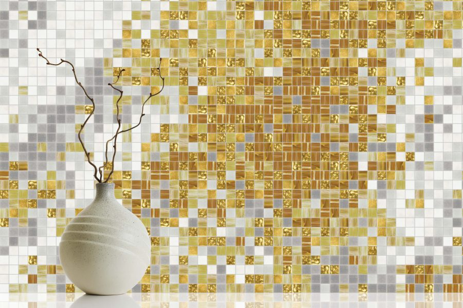 Tan Water Contemporary Abstract Mosaic Installation By Artaic