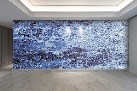 Turquoise coast Contemporary Abstract Mosaic installation by Artaic
