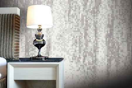 White waterfall Contemporary Abstract Mosaic installation by Artaic