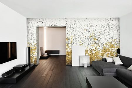 Yellow Waves Contemporary Abstract Mosaic installation by Artaic