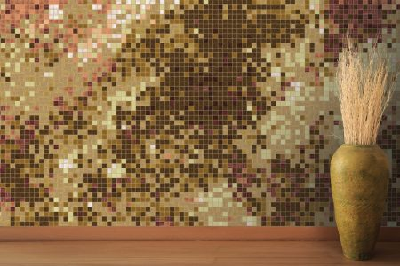 Brown water Contemporary Abstract Mosaic installation by Artaic
