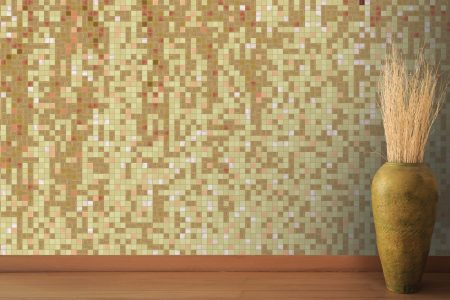 Tan downpour Contemporary Abstract Mosaic installation by Artaic