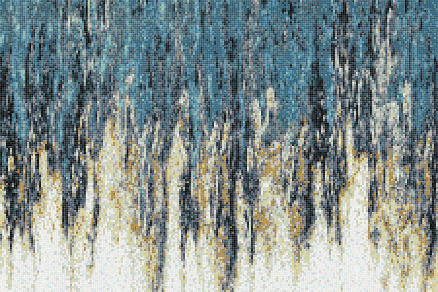 Turquoise waterfall Contemporary Abstract Mosaic by Artaic