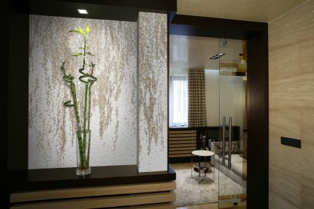 Neutral waterfall Contemporary Abstract Mosaic installation by Artaic