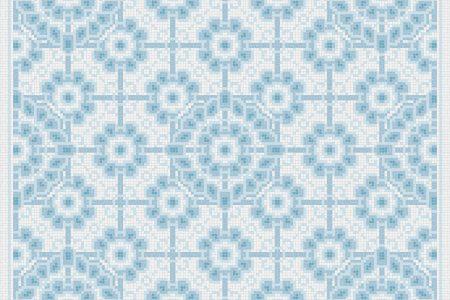 Blue art nouveau Traditional Ornamental Mosaic by Artaic