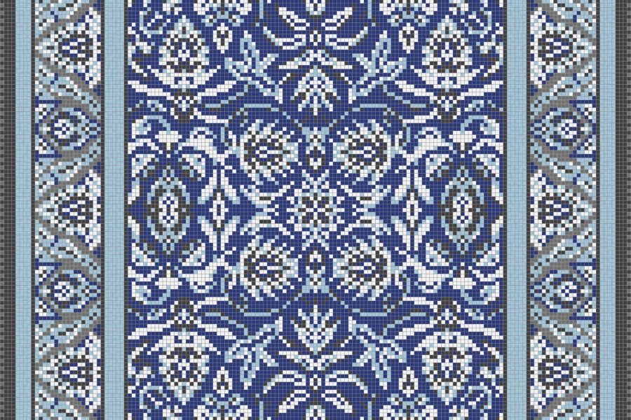 Blue classic tapestries Traditional Ornamental Mosaic by Artaic