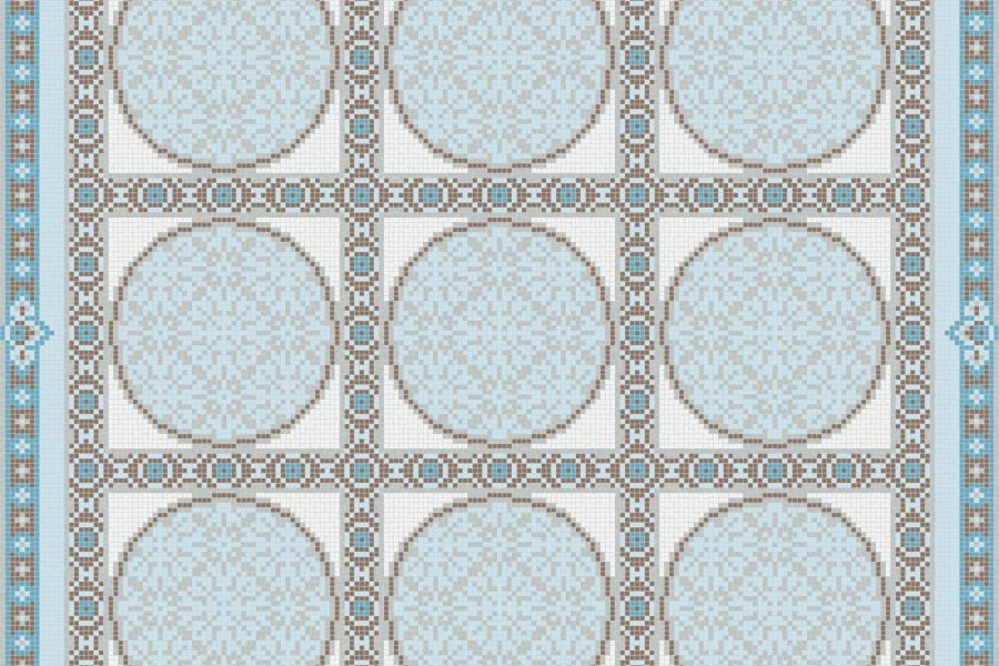 Blue geometries Traditional Ornamental Mosaic by Artaic