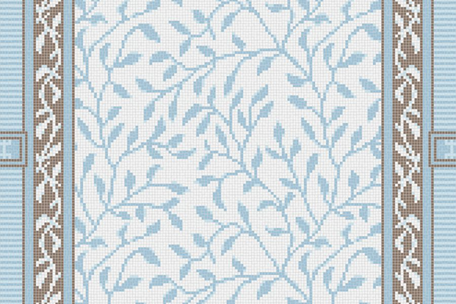 Blue vines Traditional Ornamental Mosaic by Artaic