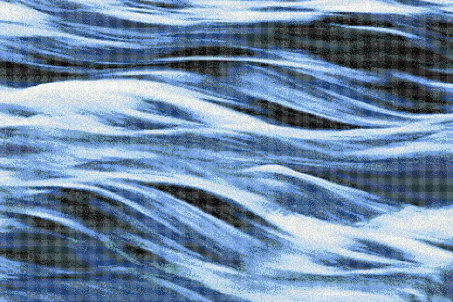 Blue Waves Tile Pattern Cascade Lake By Artaic