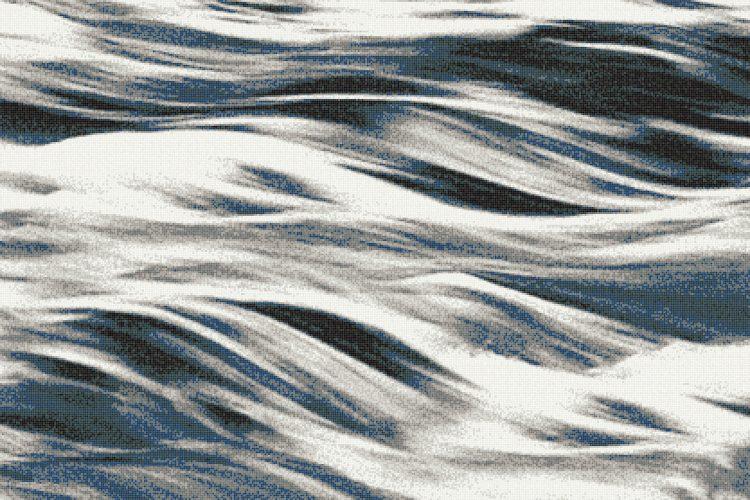 Blue Waves Tile Pattern Cascade Moonlight By Artaic
