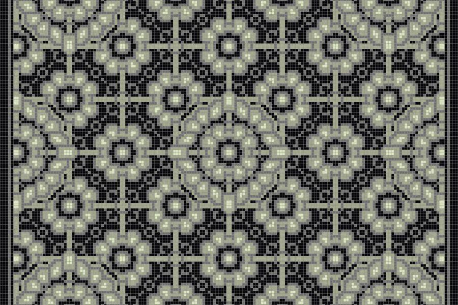 Green art nouveau Traditional Ornamental Mosaic by Artaic