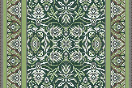 Green classic tapestries Traditional Ornamental Mosaic by Artaic