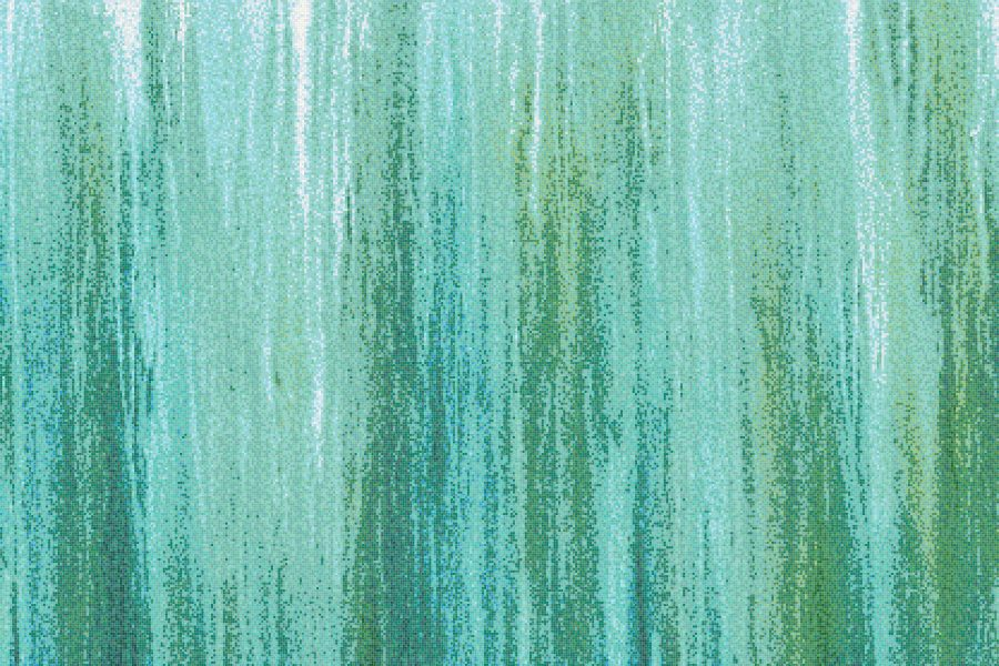 Green Waterflow Contemporary Artistic Mosaic by Artaic