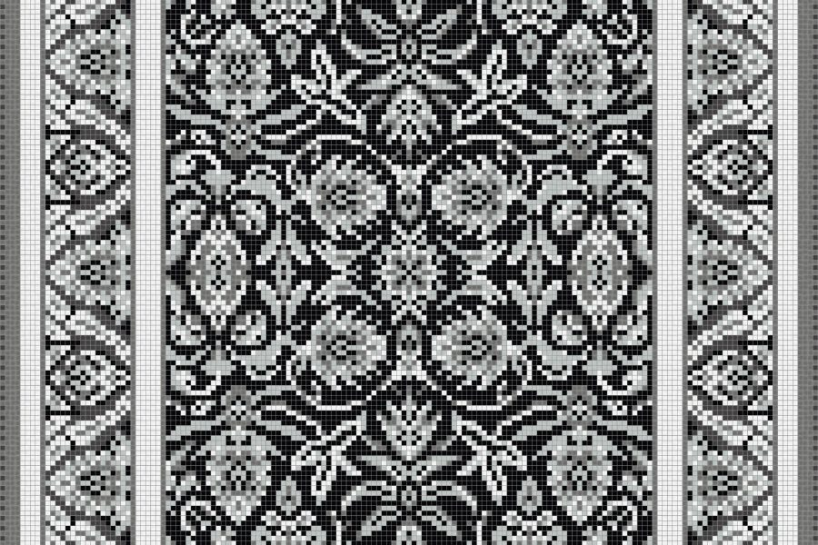 Grey classic tapestries Traditional Ornamental Mosaic by Artaic