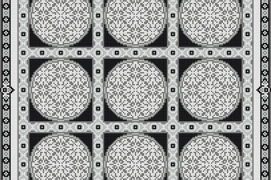 Grey geometries Traditional Ornamental Mosaic by Artaic