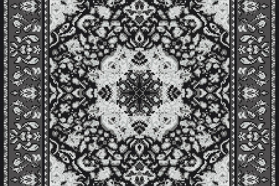 Grey Persian tapestries Traditional Ornamental Mosaic by Artaic