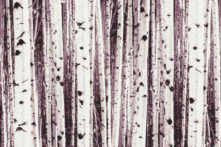 Purple Birch Trees Contemporary Photorealistic Mosaic by Artaic
