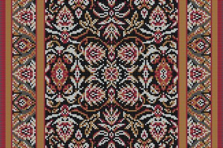 Red classic tapestries Traditional Ornamental Mosaic by Artaic