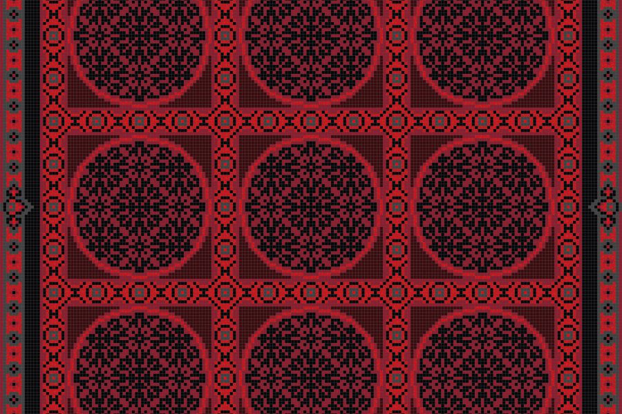 Red geometries Traditional Ornamental Mosaic by Artaic