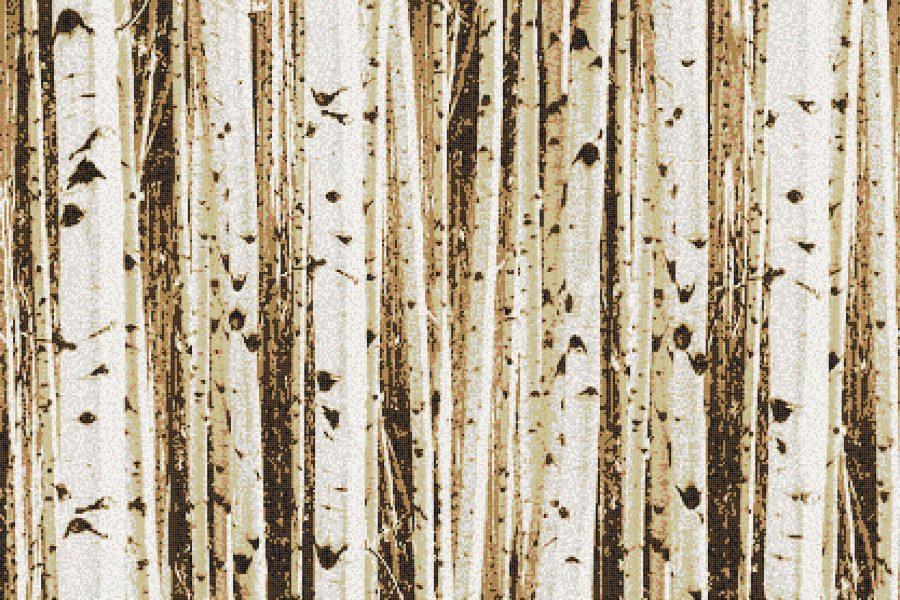 Tan Birch Trees Contemporary Photorealistic Mosaic by Artaic