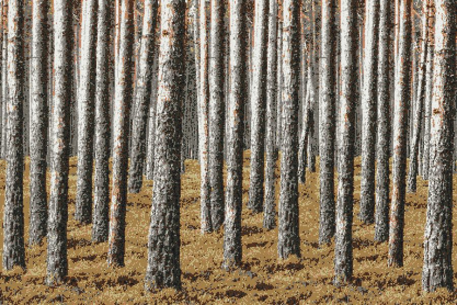 Tan Evergreen Forest Contemporary Photorealistic Mosaic by Artaic
