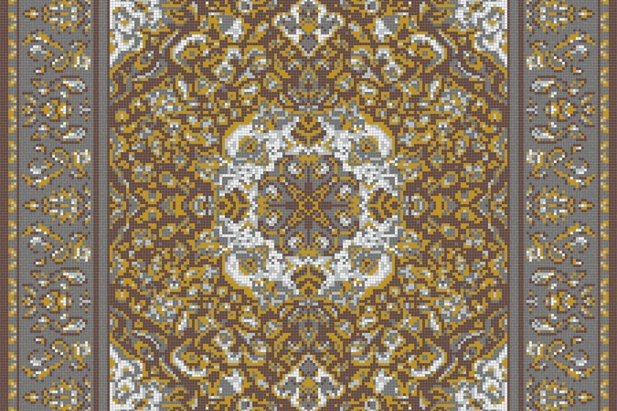 Yellow Persian tapestries Traditional Ornamental Mosaic by Artaic
