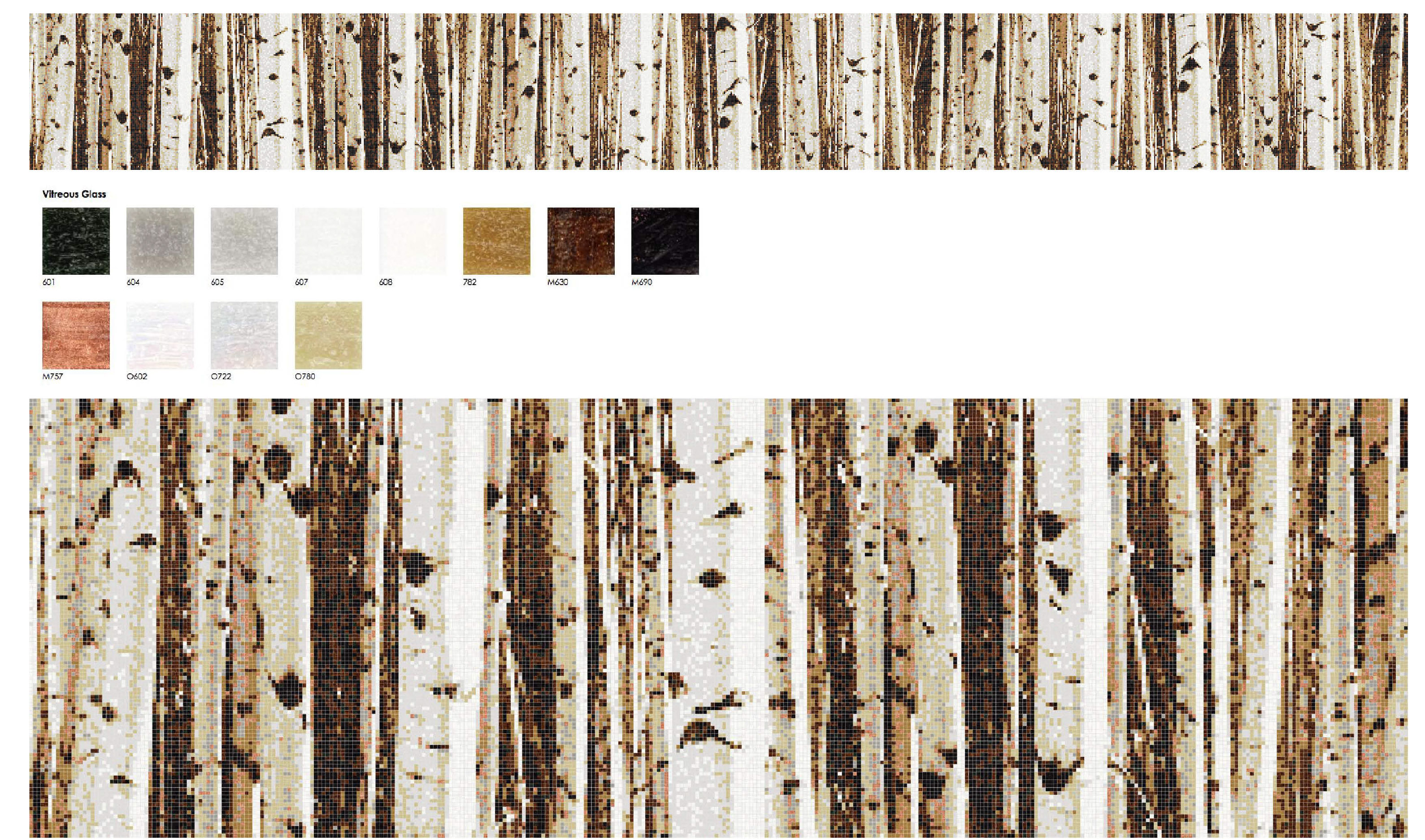 01161076 Cliff Lodge ballroom Aspen Naturally Refine Mosaic birch trees mosaic rendering
