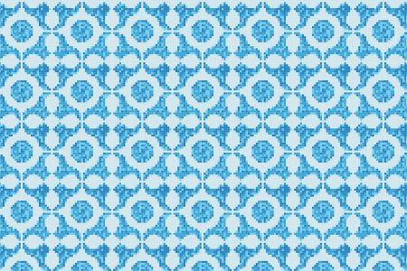 Blue dots Traditional Geometric Mosaic by Artaic
