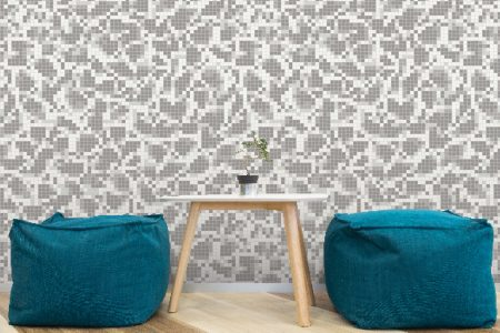 White dots Traditional Geometric Mosaic installation by Artaic