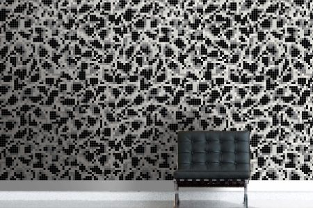 Black dots Traditional Geometric Mosaic installation by Artaic